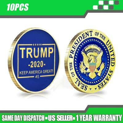 10PCS Donald Trump 2020 Presidential Seal Gold Challenge Coin Keep America Great
