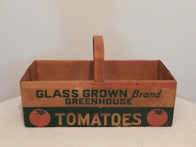 Vintage Tomatoes Packing Box With Wood Handle
