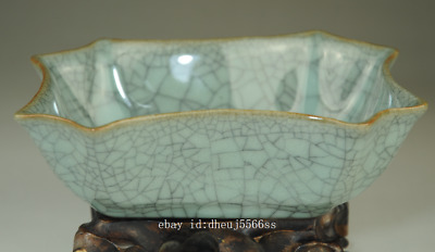 chinese old Longquan cyan porcelain natural cracked glaze brush washer /Db01J