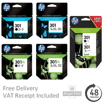 Original HP 301 / 301XL Black & Colour Ink Cartridges - Genuine HP Cartridges