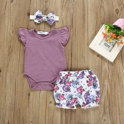 Newborn Kids Baby Girls Outfits Clothes Romper Bodysuit+Flower Shorts Outfit Set