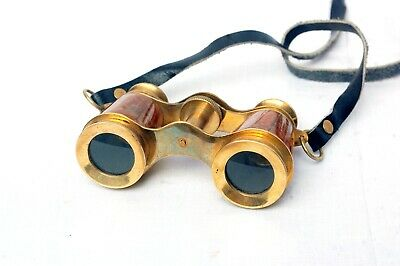 Antique Brass Binocular with Leather Neck Strap Nautical Collectible
