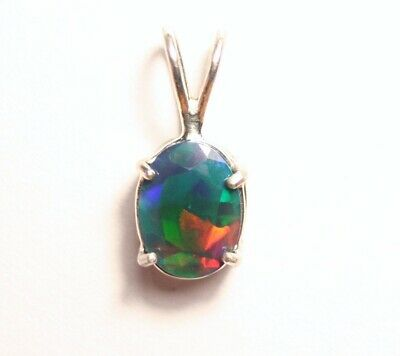 Solid Sterling Silver Pendant - 1ct Faceted Black Welo Opal - Rainbow Flash AAA