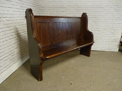 Vintage / Antique 5 Ft Hand Carved Pine Church / Chapel Pew, Bench, Reclamation