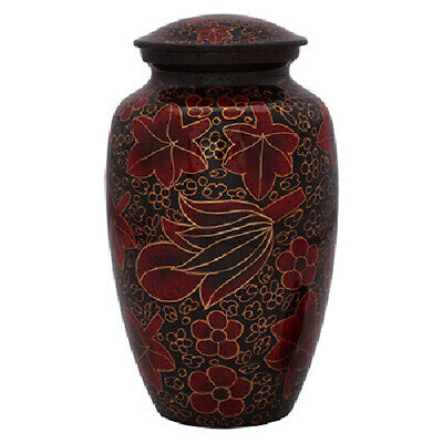 Leaf Pattern Red & Gold Urn for Human Ashes - Adult, Large Cremation Memorial