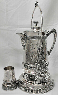 GORGEOUS! Atq MERIDEN SILVERPLATE Tilt Coffee Water Pitcher Stand Cup Drip Plate