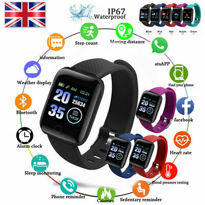 Purple 116Plus Smart Watch Bluetooth Heart Rate Blood Pressure Fitness Tracker