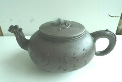 Yixing Chinese Terracotta Teapot  With Dragon And Lizard Finials