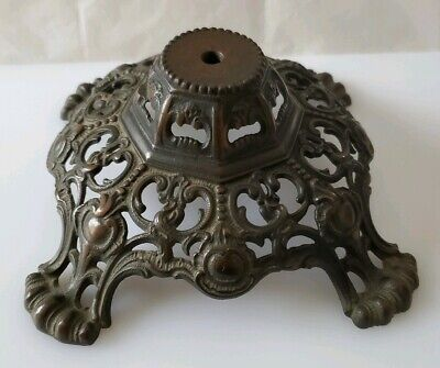 Antique Ornate Cast Iron Gone With The Wind Table Lamp Base Part Footed