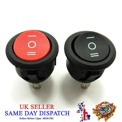 AC 10A 250V 3 Pin ON/OFF/ON Rocker Switch 3 Position Snap Round Button SPDT