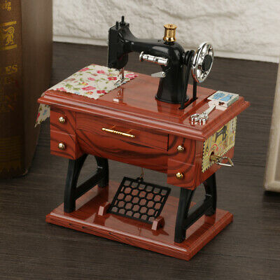 Retro Mini Sewing Machine Style Music Box Mechanical Table Decor Birthday Gift