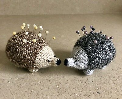 NEW Hand-knitted Cute Hedgehog Pin Cushion (Brown or Grey)