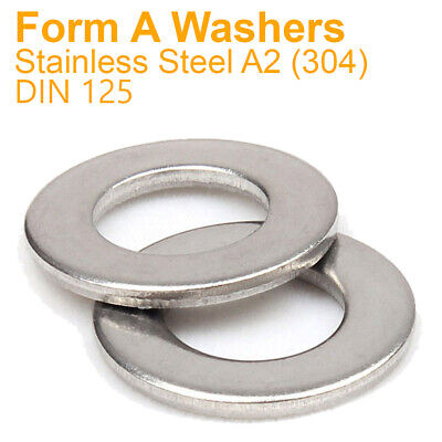 FORM A WASHERS A2 Stainless Steel Standard Size SMALL-EXTRA LARGE M2-M36 Din 125