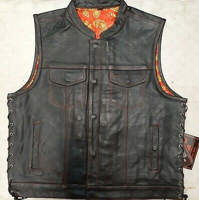 6665.01/3 Men's Black Club Style Side Lace Leather Vest - Red/Gold Paisley
