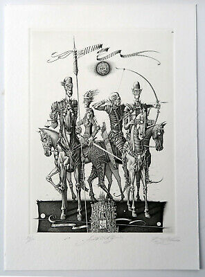 Ex libris Giuseppe Mirabella LAST! signed etching and gold VALENTINI Walter