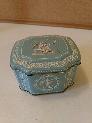 Vintage Blue And White Metal Tin Hinged Container England