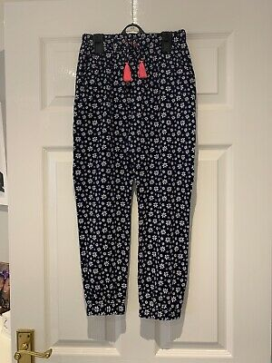 Girls Navy Floral Patterned Trousers From George 8-9 Years