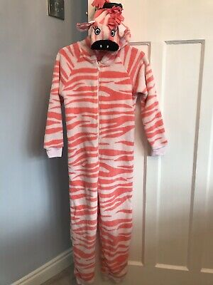 Girls Zebra Orange Print All In One, Marks & Spencer, Age 7-8 Years