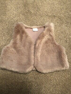 Next Girls Blush Pink Fur Gilet. 1.5-2years
