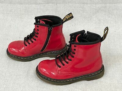 Children's Patent Red Side Zip Dr Martens Airwair Ankle Boots Infant UK9 #845