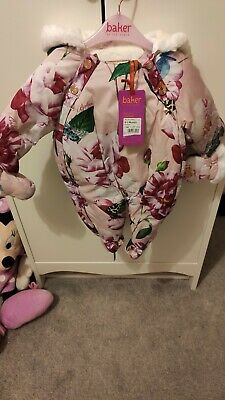 Girls Ted Baker Snowsuit Bnwt Brand New 0-3 Pink Floral RRP £60 built in mittens