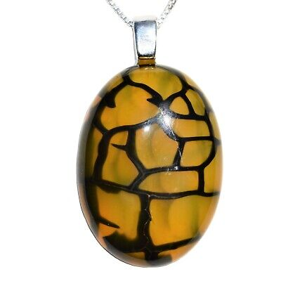 "CHARGED 925 SS Dragon's Vein Agate Crystal Cabochon Pendant + 20"" 925 Chain"