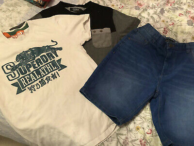 Boys Age 15 Years Men's Small T-shirt Shorts Bundle Next Voi Jeans Superdry