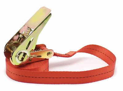 Ratchet Strap Tie Down x 25mm endless 4.57 Metre Red With End Hook
