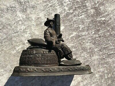 Antique Chinese Bronze Smoking Man on Pillows Missing The Pipe Sold As-Is