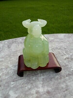 Chinese Green Carved Jade Ox Figurine with Wood Stand