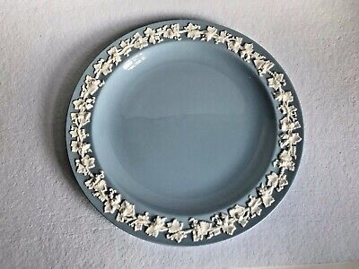 """Wedgwood of Etruria Barlaston Embossed Queensware white on blue plate 10""""  1950"""""""