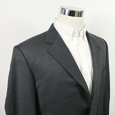 Burberry London Mens 41L Sport Coat Charcoal Gray 100% Wool Two Button Vented