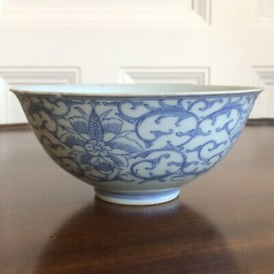 Antique Chinese Glazed Blue And White Pottery Bowl, Signed With Character Marks.