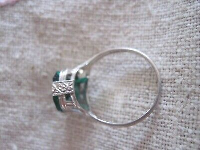 Vintage Antique 14K White Gold Ring Green Glass Stone Size 7