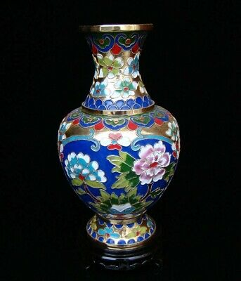 200mm Collectible Handmade Copper Brass Cloisonne Enamel Vase Flower Deco Art