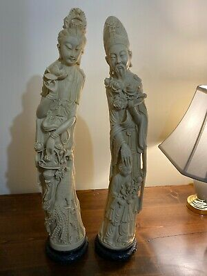 "RARE Pair of Faux Statues of Kwan Yin and Shou Lao 26"" Tall Italy Wood Bases"