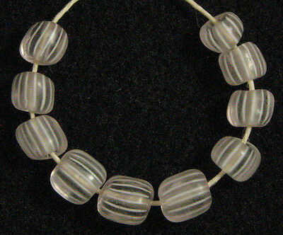 10 Old Antique Venetian CLEAR GOOSEBERRY Glass African Trade Beads