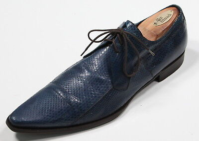 DOLCE & GABBANA Cobalt Blue Snakeskin Point Toe Lace-Up Oxfords US 8.5