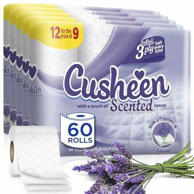 Cusheen Quilted Luxury Lavender Scented 3 Ply Toilet Tissue Paper Rolls – 60