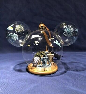 WDW Disney Parks Blown Glass Mickey Ornament Castle Spaceship Earth Tree ToT NWT