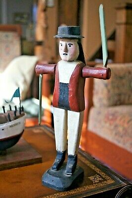 Folk Art Antique Whirligig Hand Carved Painted Whaler Man Signed 1919 Maine SALE