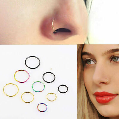 Small Stainless Steel Nose Ring Hoop Body Cartilage Piercing Stud Jewelry Gift