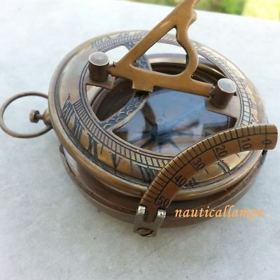 SUNDIAL COMPASS Antique Solid Brass Nautical Maritime Antique Working Compass