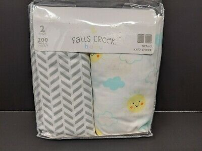2 pack Falls Creek 100% Cotton Baby Fitted Crib Sheet ~patterns sunshine clouds