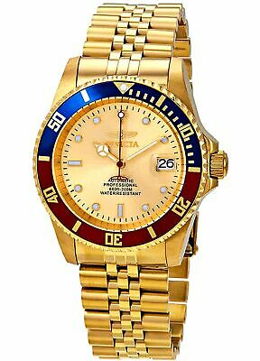 Invicta Mens High End Diver Automatic 3 Hand Gold Dial Watch 29183