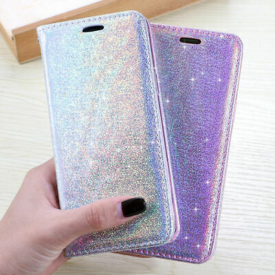For Samsung Galaxy S9 S8 Plus S7 Glitter Leather Magnetic Wallet Flip Case Cover