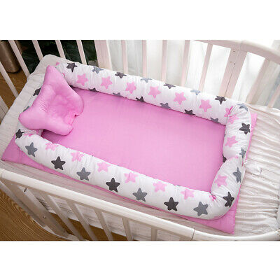 """Baby Bassinet Bed 35x20"""" Breathable Portable Infant Lounger Crib Star_Pink"""