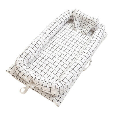 """Baby Bassinet Bed 35x20"""" Breathable Portable Infant Lounger Crib Grid_White"""