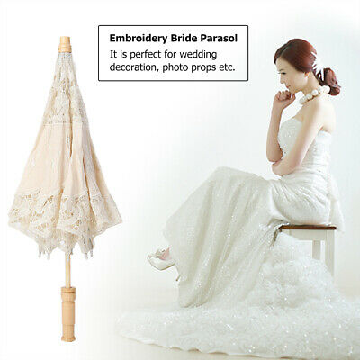Embroidery Vintage Lace Umbrella Parasol Decoration Wedding Party Photography