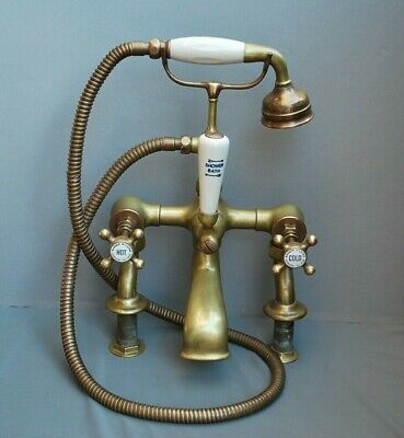 Brass Antique Patina Bath Shower Mixer Heavy Weight Taps Fully Refurbished
